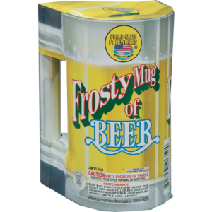 A beer lover's delight! The beer mug shape makes this fountain manly for any man. Grab onto the gusto and enjoy! Performance includes silver pine needle with gold, yellow, red, green and crackling chrysanthemum followed by loud whistling with crackle. SKU# 80525311350 Case Packaging: 16/1  - See more at: http://www.jakesfireworks.com/frosty-mug-of-beer.html#sthash.MRMc6Yir.dpuf