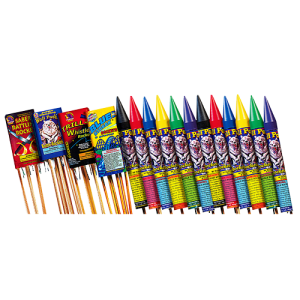 This high flying rocket assortment features some of our most requested, larger size rockets.