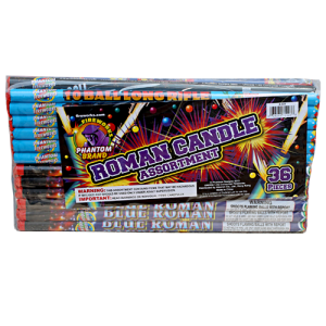 36 of your favorite Roman Candles. Includes the following: 5 ball, 10 ball, 10 ball w/report, 10 shot Glittering Pearl, 10 ball color pearl, 10 ball blue, 10 shot Crackling Candle and 10 ball Long Rifle (substitutions may occur).