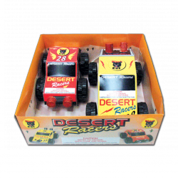 There are two different vehicles in one display box. Both racers move forwards and backwards with sparks and whistle with big wheels to navigate less-than-smooth surfaces.