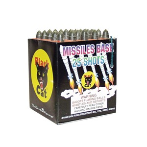 Shoots 25 fully loaded loud whistles with report finales.  The best quality on the market!