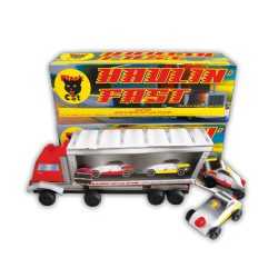 Black Cat's hefty hauler is the best way to get your cars to the big race.  Colorful flames, whistles, and crackle announce the arrival of your racers.  Then the crowd goes wild as your cars pop out of the rig to take the checkered flag.