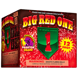 Big Red One has a variety of effects. Beginning with bright, cardinal red brocades with shining stars and silver crackling strobes. Green strobes lead into an awesome panoramic red crackling finale!