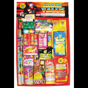 The Killer Value assortment is everything you need to have a safe yet fun fireworks celebration. Lots of firecrackers and smaller items means the fun will last a long time.  Killer value includes the following items: Firecrackers Smoke Balls Sparklers Crackling balls Ground Bloom Flowers  Snappers Parachutes Champagne Poppers Flashing signals Roman Candles  Assorted Fountains - See more at: http://www.jakesfireworks.com/assortments/killer-value-no-rockets.html#sthash.szxxXp83.dpuf