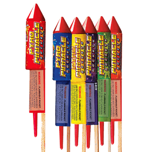 High altitude rockets. Six different effects including crackling wave, and crackling palms to glitter or stars