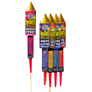 Sleek and powerful rockets have six effects including newest glitter effects, timed rain and crackle.