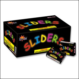 Sliders are the latest innovation in fuseless fireworks that are safer for the kids. Each Slider looks like a thick mechanical pencil lead piece, and the kids can put them under their shoe to slide them back and forth to create loud popping sounds and bright sparks. Kids absolutely love them.