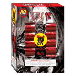 These canister shells will send the devil back where he belongs.  Diablo is legally loud, with humongous breaks--so loaded, they're almost illegal - See more at: http://www.blackcatfireworks.com/fireworks/reloadables/diablo-12/#sthash.V61BZz3N.dpuf