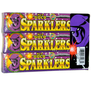 6 pack of gold sparklers. Each pack contains 6 sparklers.