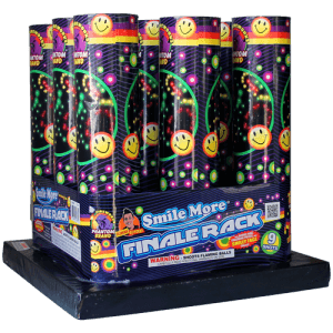 Phantom Fireworks brings you the Smile More Finale Rack with double rings, crackling pistils, and of course smiling faces!!